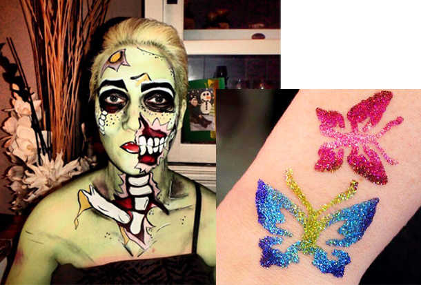 halloween schmink & glitter tatoo