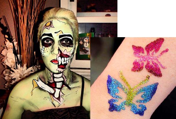 halloween schmink & glitter tatoo